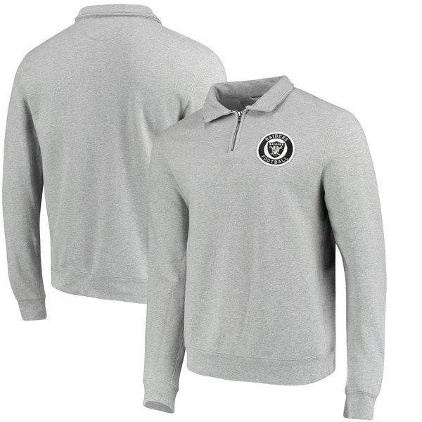 ジャンクフード メンズ シャツ トップス Las Vegas Raiders Junk Food Sideline QuarterZip Pullover Sweater Heathered Gray