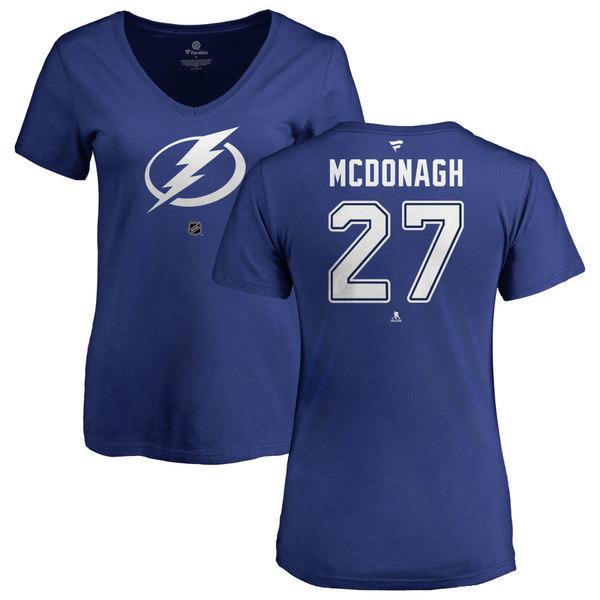 ファナティクス レディース Tシャツ トップス Tampa Bay Lightning Fanatics Branded Women's Personalized Team Authentic VNeck TShirt Blue