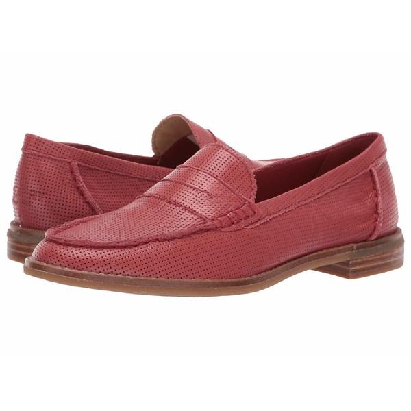 スペリー レディース スリッポン・ローファー シューズ Seaport Penny Perf Leather Dark Red