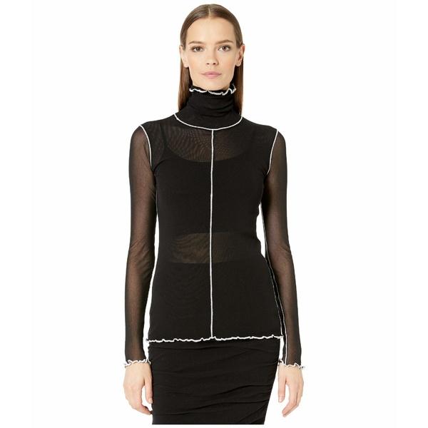フィッジ レディース シャツ トップス Long Sleeve T-Neck in Solid Black with Contrast Seaming Nero