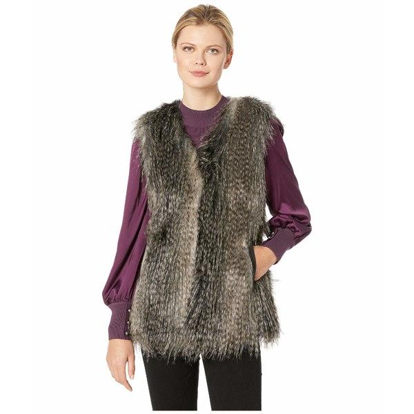 ヴィアスピガ レディース コート アウター Faux Fur Vest Black Multi