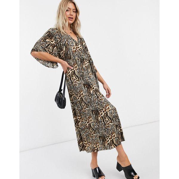 リクオリッシュ レディース トップス トラスト 人気ブレゼント ワンピース Leopard print 全商品無料サイズ交換 in leopard wrap Liquorish dress plisse
