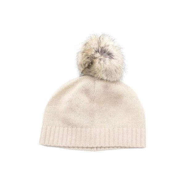 ポートラノ レディース アクセサリー 帽子 YOGI セール開催中最短即日発送 IVORY Beanie Fur Cashmere Faux Pompom 全商品無料サイズ交換 送料無料限定セール中