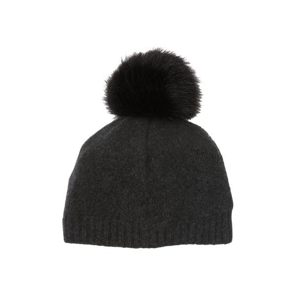 ポートラノ おトク レディース アクセサリー 帽子 HTH CHARCOAL Beanie Faux Fur Pompom 全商品無料サイズ交換 お得クーポン発行中 Cashmere