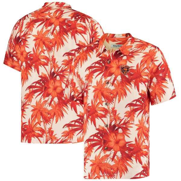トッミーバハマ メンズ シャツ トップス Chicago Bears Tommy Bahama Sport Harbor Island Hibiscus Camp ButtonDown Shirt Orange