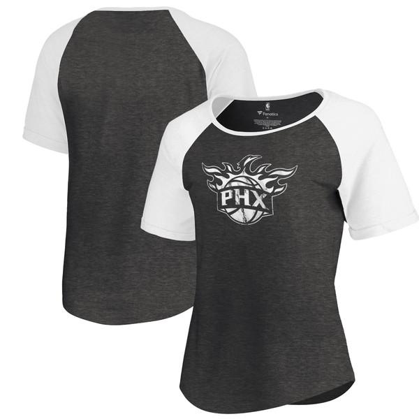 ファナティクス レディース Tシャツ トップス Phoenix Suns Fanatics Branded Women's Marble Logo Raglan TShirt Black