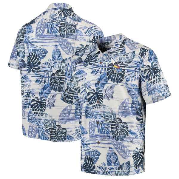 トッミーバハマ メンズ シャツ トップス Kansas Jayhawks Tommy Bahama Super Fan Camp Shirt Royal