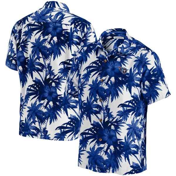 トッミーバハマ メンズ シャツ トップス Tennessee Titans Tommy Bahama Sport Harbor Island Hibiscus Camp ButtonDown Shirt Navy