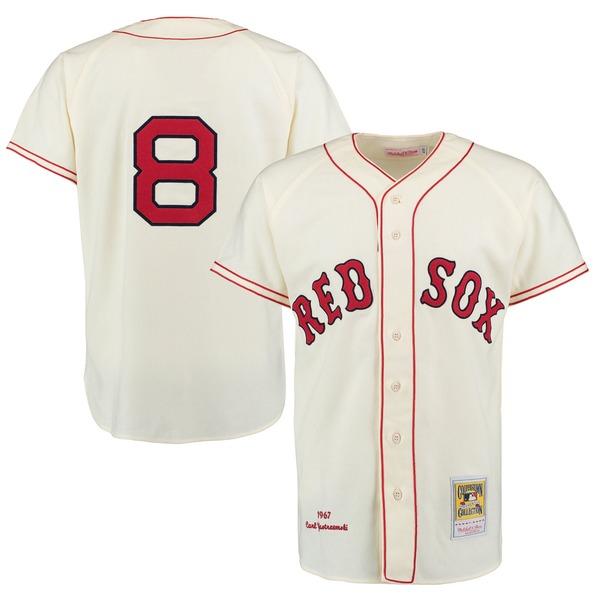 ミッチェル&ネス メンズ ユニフォーム トップス Carl Yastrzemski Boston Red Sox Mitchell & Ness Authentic Jersey Cream