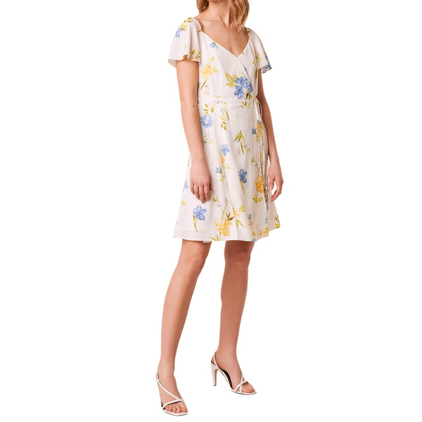 フレンチコネクション レディース ワンピース トップス Eme Crepe Faux Wrap Dress Eme Summer White