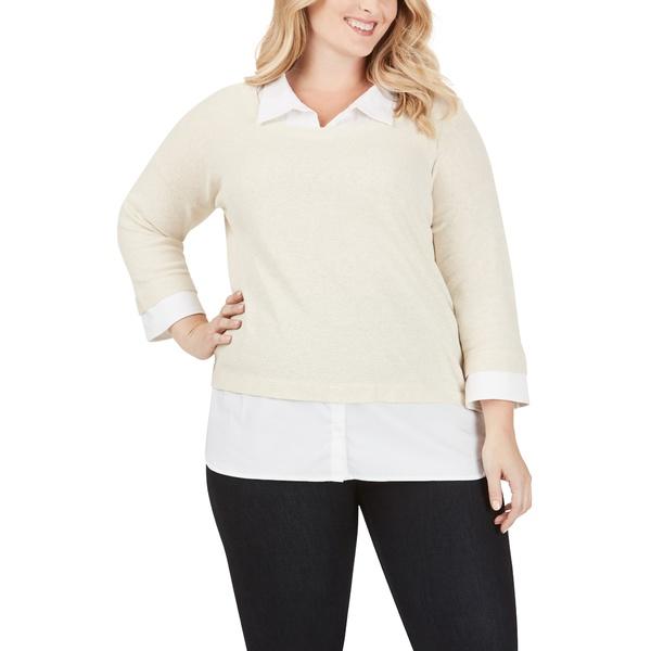 フォックスクラフト レディース シャツ トップス Miles Layered Shirt & Sweater Pullover Straw Hat