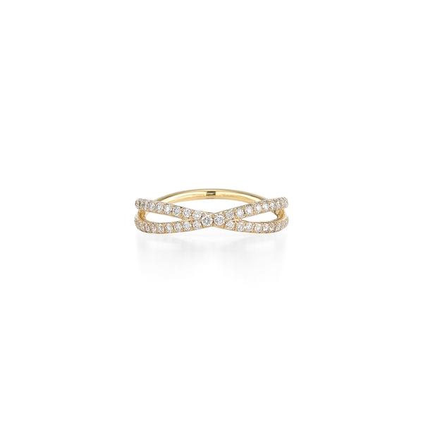 クィア レディース リング アクセサリー Fidelity Crossover Diamond Band Ring Yellow Gold
