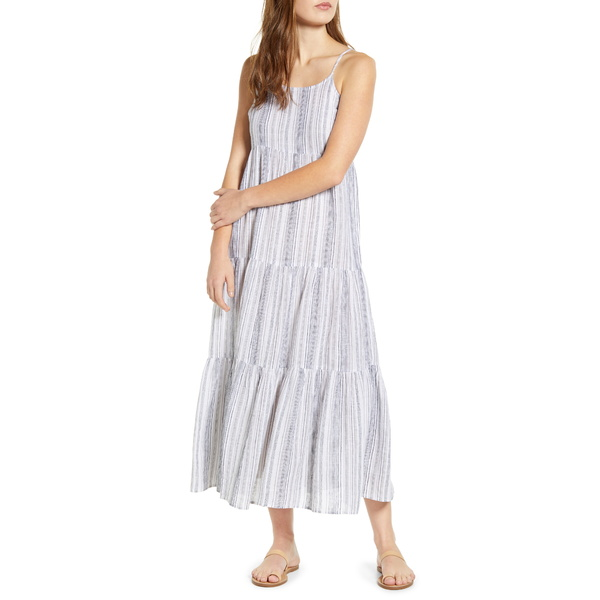 ビーチランチラウンジ) レディース ワンピース トップス Lana Stripe Linen & Cotton Tiered Midi Sundress 50 Shades