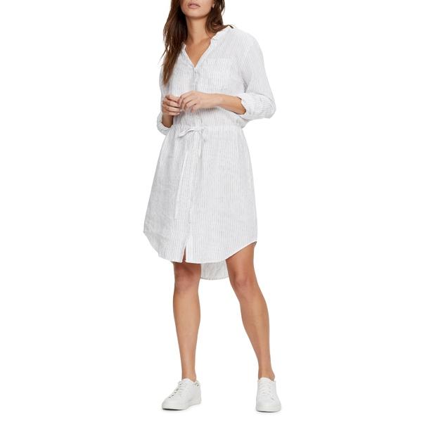 マイケルスターズ レディース ワンピース トップス Leann Pinstripe Shirtdress White W/ Black S