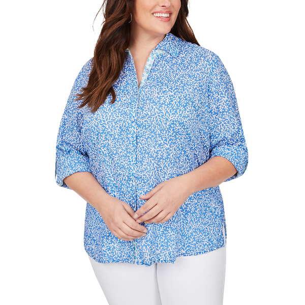 フォックスクラフト レディース シャツ トップス Zoey Coral Reef Button Up Shirt Malibu Blue