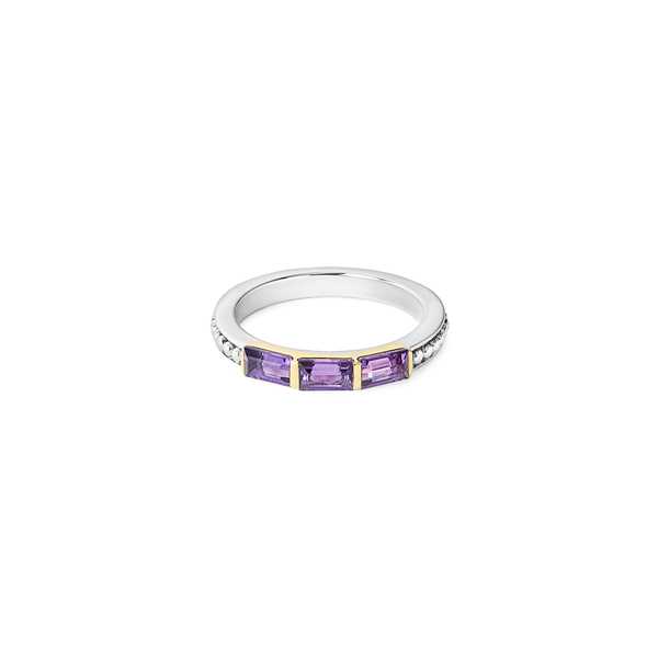 ラゴス レディース リング アクセサリー Gemstone Baguette Stackable Ring Silver/ 18k Gold/ Amethyst