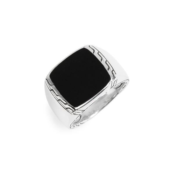 ジョン・ハーディー レディース リング アクセサリー Classic Chain Signet Ring Silver/ Black Jade