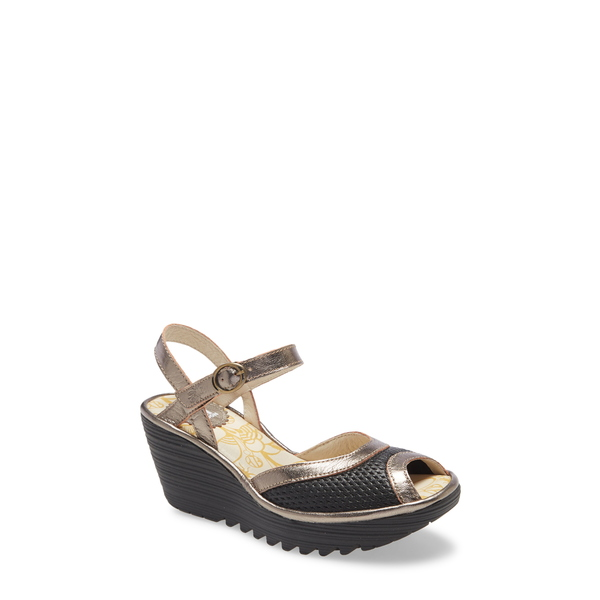 フライロンドン レディース サンダル シューズ Yans Wedge Sandal Black/ Bronze Leather