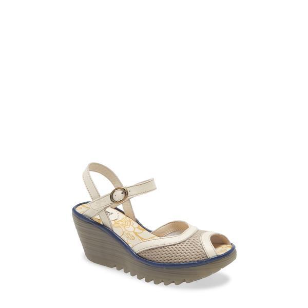 フライロンドン レディース サンダル シューズ Yans Wedge Sandal Greige/ Off White Leather