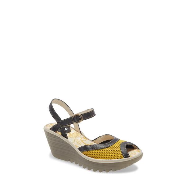 フライロンドン レディース サンダル シューズ Yans Wedge Sandal Yellow/ Black Leather
