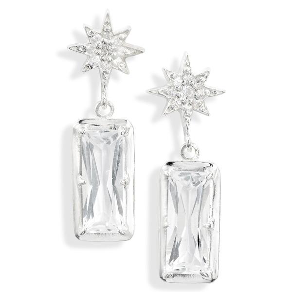 アンジー レディース ピアス&イヤリング アクセサリー Starburst White Topaz Drop Earrings Silver/ White