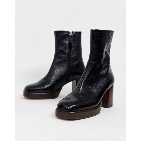 エイソス レディース ブーツ&レインブーツ シューズ ASOS DESIGN Reunion premium leather platform boots in black Black leather