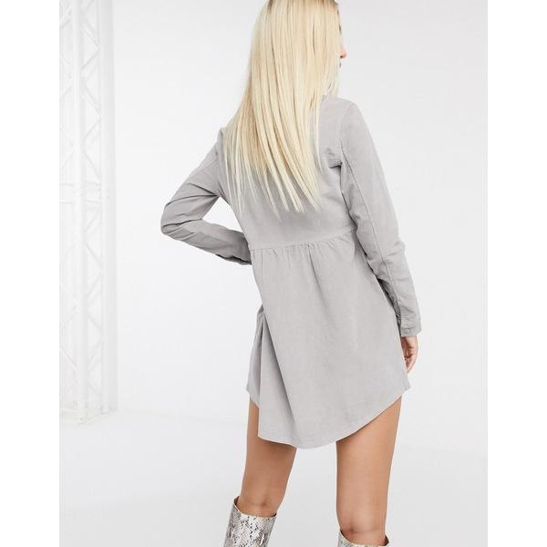 ミスガイデッド レディース ワンピース トップス Missguided cord smock dress in gray Gray