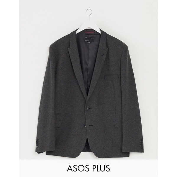 in ASOS charcoal wedding エイソス Plus アウター herringbone メンズ jacket Charcoal suit super DESIGN skinny ジャケット&ブルゾン