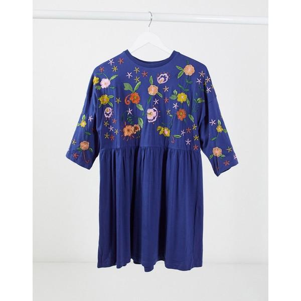 エイソス レディース ワンピース トップス ASOS DESIGN embroidered smock dress in navy Navy