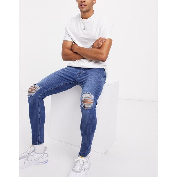 ブレーブソウル メンズ デニムパンツ ボトムス Brave Soul skinny fit jeans with rips in pinstripe Blue:asty