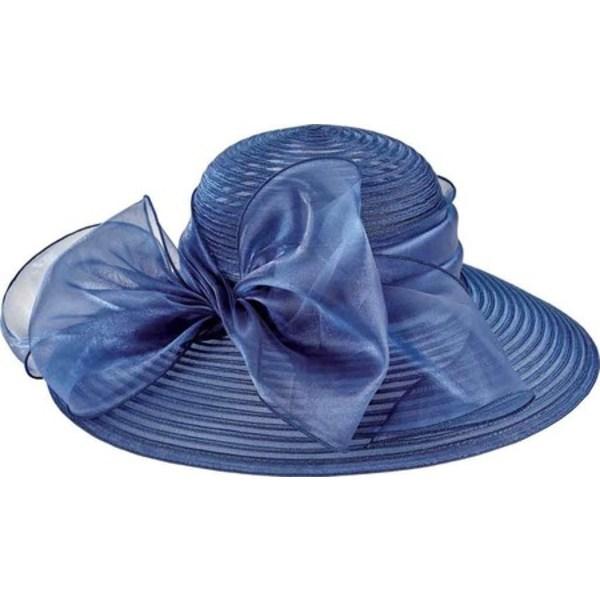 サンディエゴハット レディース アクセサリー 帽子 Navy 全商品無料サイズ交換 海外 Poly Oversized Women's Bow with 格安 Dress Hat DRS1010