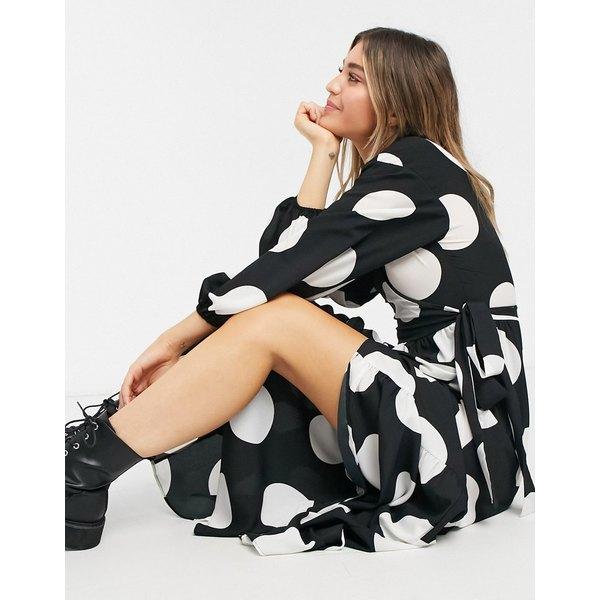 エイソス レディース トップス ワンピース Mono spot 全商品無料サイズ交換 ASOS 送料無料カード決済可能 まとめ買い特価 DESIGN wrap peplum maxi with oversized hem in front dots dress