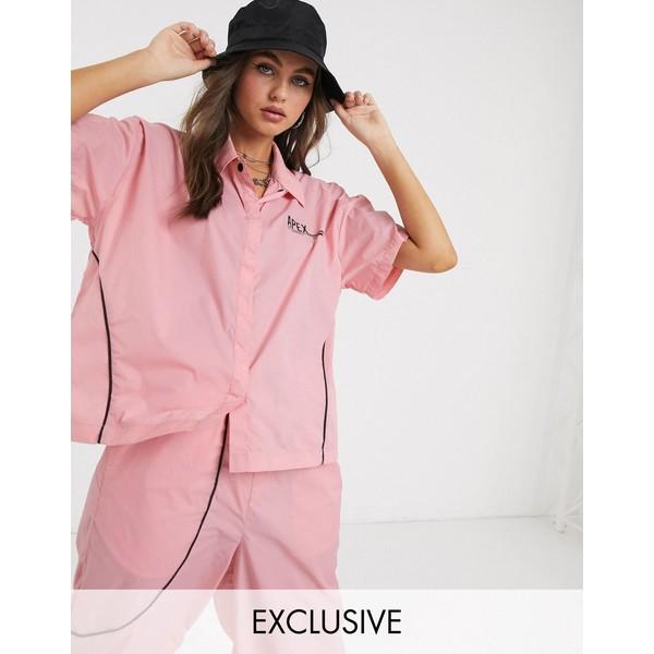 コリュージョン レディース シャツ トップス COLLUSION nylon cropped shirt with plastisol print Pink