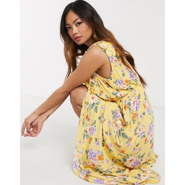 ジリ レディース ワンピース トップス Gilli wrap maxi dress with tie strap detail in yellow floral Yellow