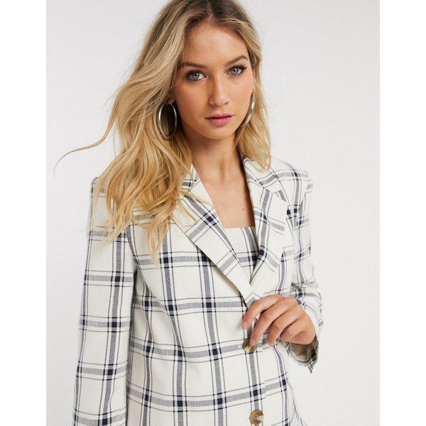 エイソス レディース ジャケット&ブルゾン アウター ASOS DESIGN 3 piece dad suit blazer in linen picnic check Check