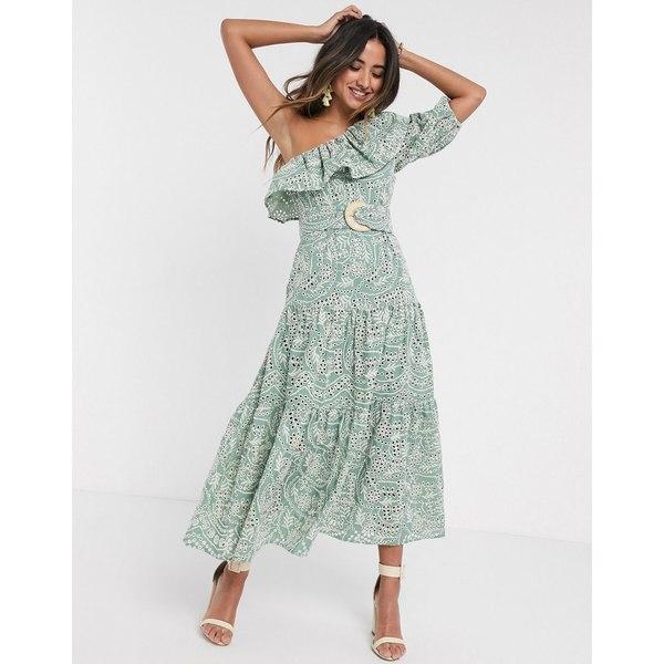 エイソス レディース ワンピース トップス ASOS DESIGN one shoulder broderie ruffle maxi dress with raffia belt in sage green Sage green