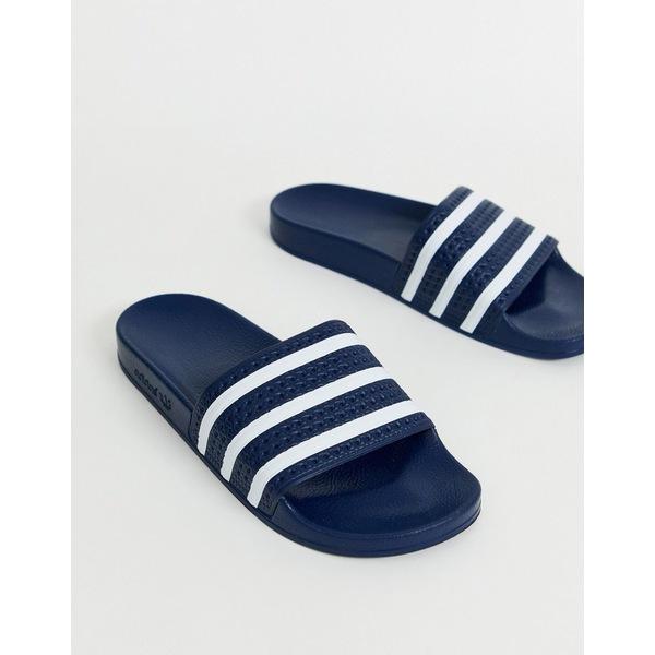 アディダスオリジナルス メンズ サンダル シューズ adidas Originals Adilette slides in navy Navy
