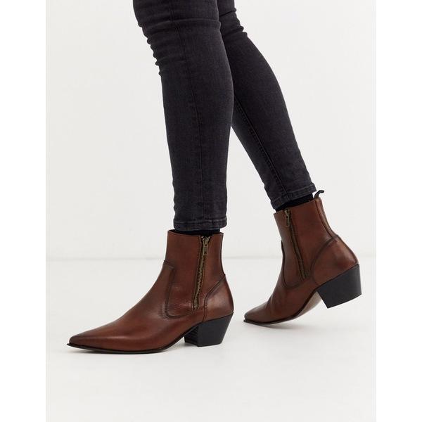 エイソス メンズ ブーツ&レインブーツ シューズ ASOS DESIGN stacked heel western chelsea boots in brown leather Tan