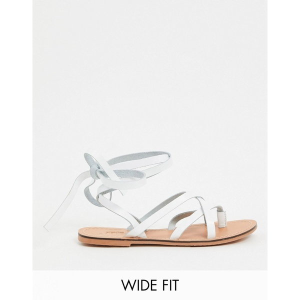 エイソス レディース サンダル シューズ ASOS DESIGN Wide Fit Framed strappy leather sandal in white White