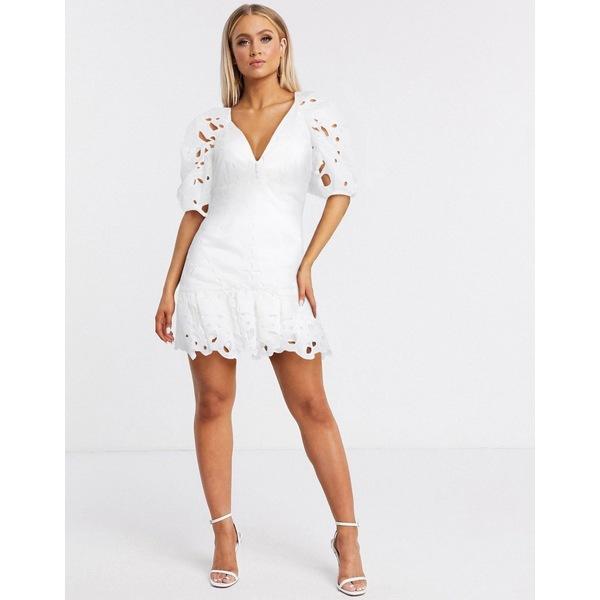バードット レディース ワンピース トップス Bardot broderie flippy hem dress in white White