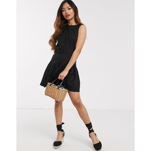 エイソス レディース ワンピース トップス ASOS DESIGN cotton mini dress with pep hem and belt in black Black