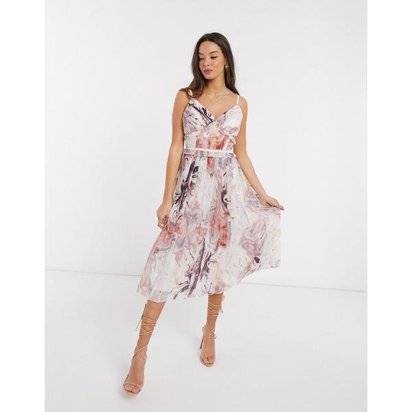 リトルミストレス レディース ワンピース トップス Little Mistress Lea pleated midi dress in marble print Multi