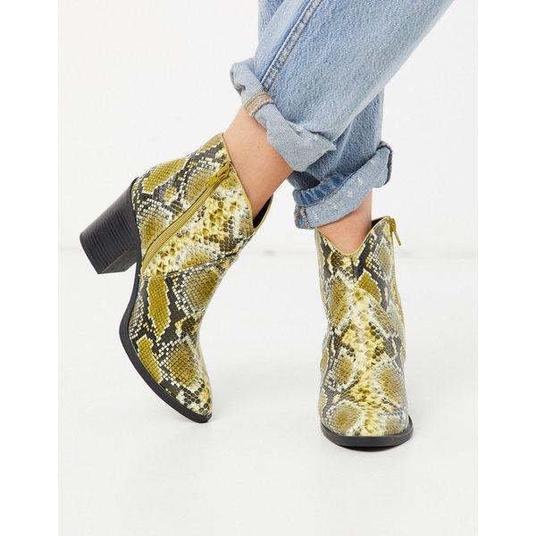 コールイットスプリング レディース ブーツ&レインブーツ シューズ Call It Spring by ALDO Cecily heeled western ankle boot in yellow snake Dark yellow