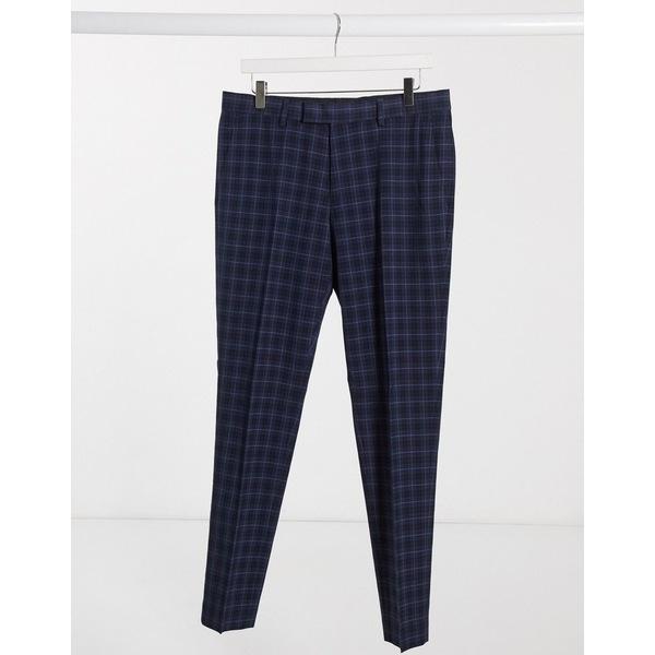 リバーアイランド メンズ カジュアルパンツ ボトムス River Island skinny smart pants in navy check Blue