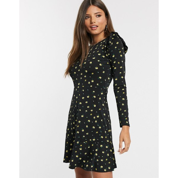 ウエアハウス レディース ワンピース トップス Warehouse floral print frill sleeve dress in black Multi