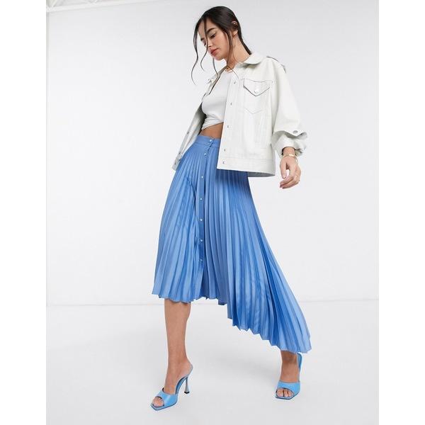 ストラディバリウス レディース スカート ボトムス Stradivarius pleated midi skirt with button detail in blue Blue