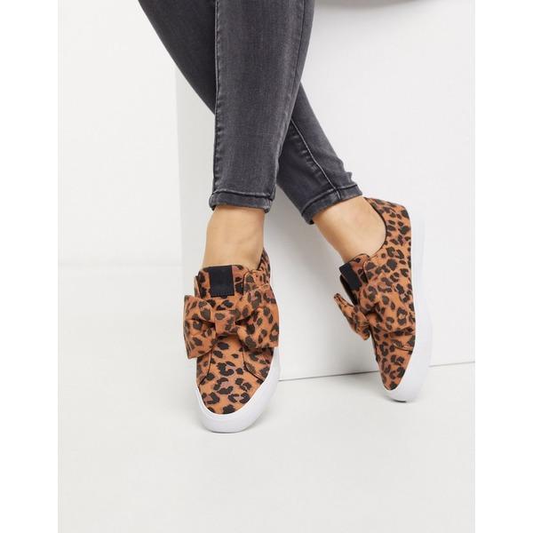 エイソス レディース スニーカー シューズ ASOS DESIGN Dekker bow slip on sneakers in leopard Leopard
