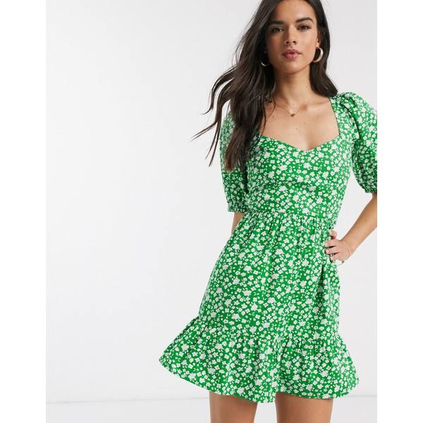 エイソス レディース ワンピース トップス ASOS DESIGN tiered mini dress with puff sleeves and open back in ditsy floral print Ditsy floral print