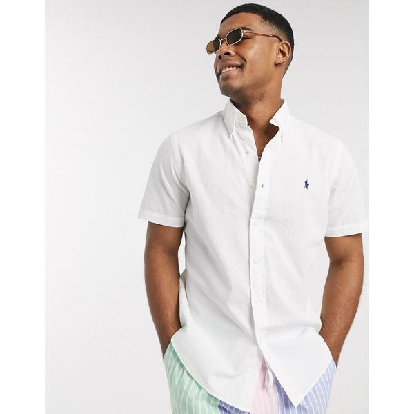 ラルフローレン メンズ シャツ トップス Polo Ralph Lauren short sleeve seersucker shirt classic fit in white White