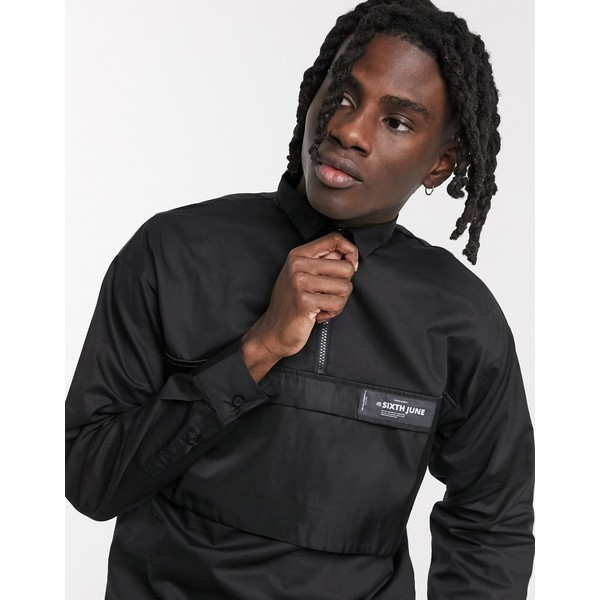 シックスジュン メンズ シャツ トップス Sixth June overhead utility shirt with panel pocket in black Black